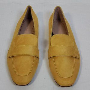 Zara Saddle Loafers Mustard Leather Size 40 NEW